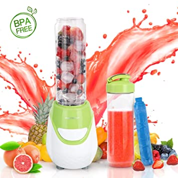 Aigostar Greenberry 30JHU - Batidora de vaso portátil, 600W, tubo refrigerante, incluye 2 vasos portátiles de Tritan de 600 ml y 2 tapas. Libre de ...