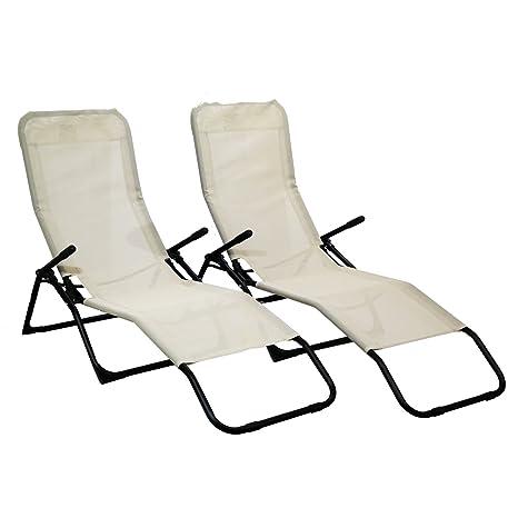 2 x Rocker Loungers Black Sunchair Recliner Outdoor Garden Furniture Folding
