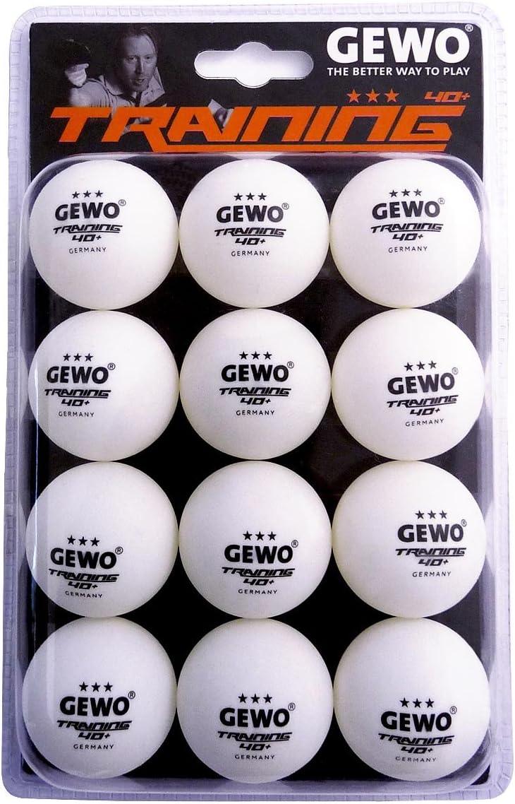 GEWO 3-Stern Tischtennisball Im Handlichen 12er Pack Pelota de Ping Pong, Unisex Adulto
