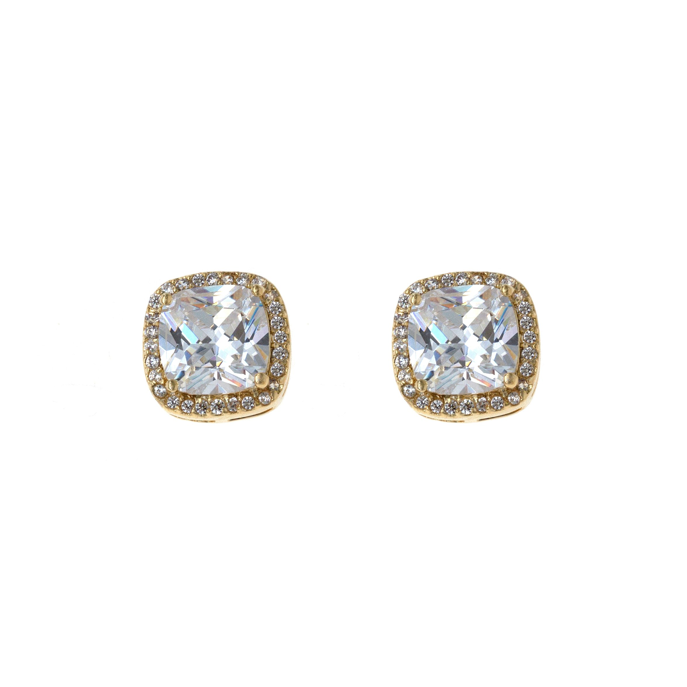 Square Stud Earrings Micro Paved AAA CZ Jewelry Wedding Party Prom For Women (Gold)