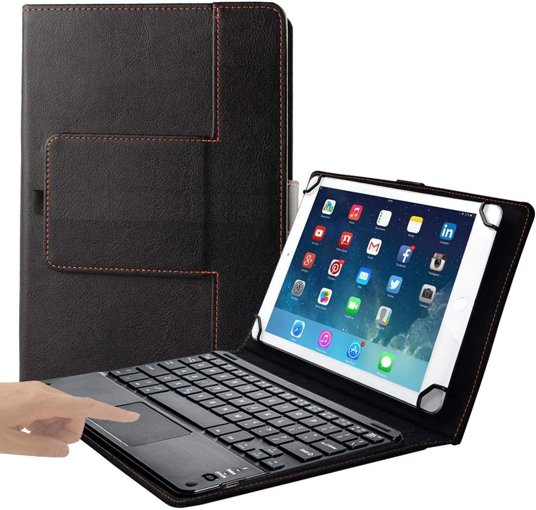 Eoso TouchPad Keyboard case for Tablets,2-in-1 Bluetooth Wireless Keyboard with Touchpad & Leather Folio Cover (7-8