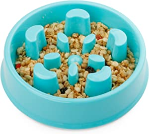 JASGOOD Dog Feeder Slow Eating Pet Bowl Eco-Friendly Durable Non-Toxic Preventing Choking Healthy Design Bowl for Dog Pet(S-M,D-Blue)