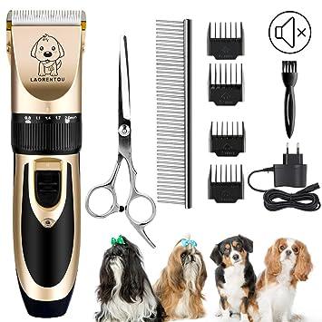Perro máquinas de cortar pelo, eléctrico gato perro esquiladora recortador Kit con 4 peine/Tijeras/acero inoxidable pelo peine, inalámbrica mascotas ...