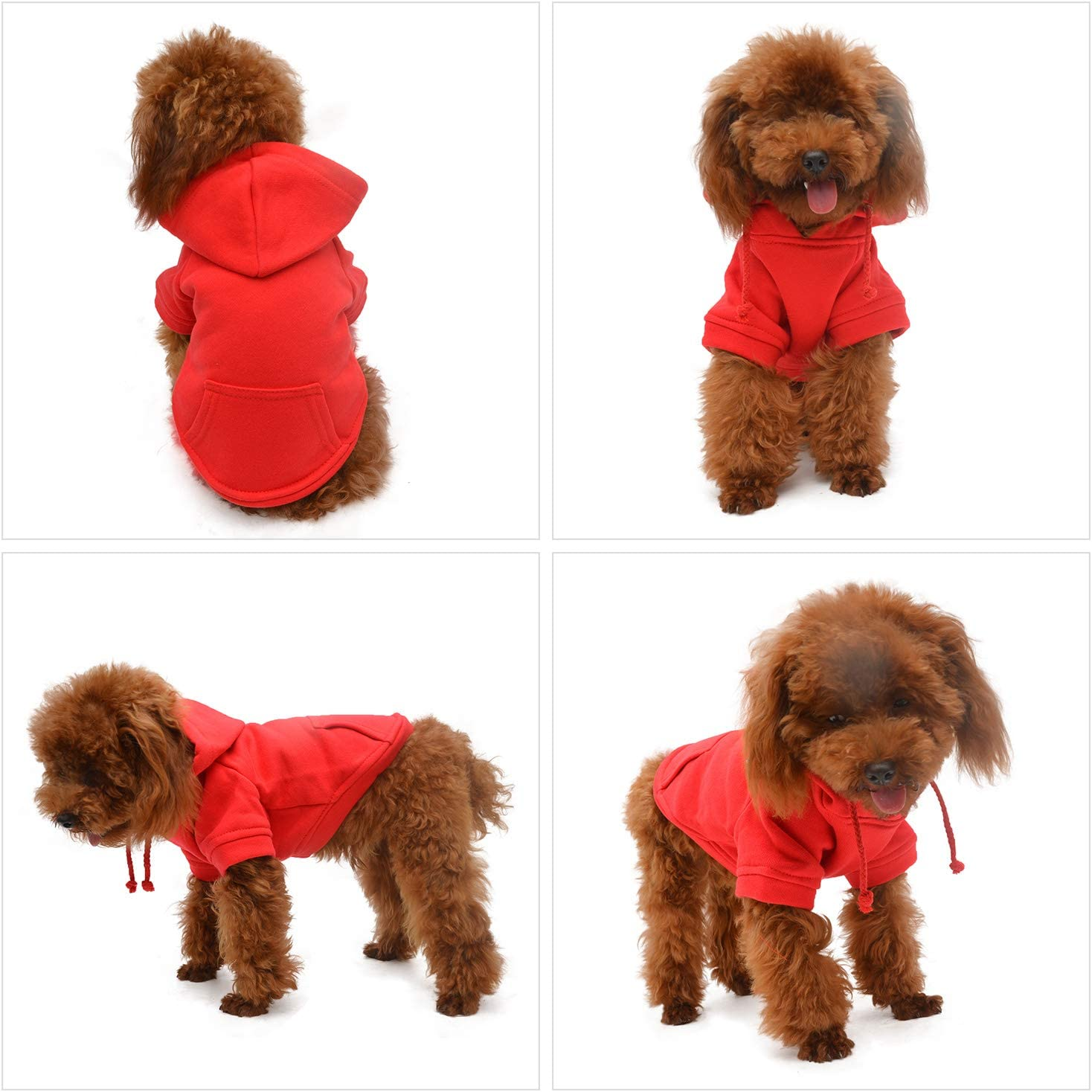 S, Red Pet Clothing Clothes Dog Coat Hoodies Winter Autumn Sweatshirt for Small Middle Large Size Dogs 11 Colors 100/% Cotton 2018 New