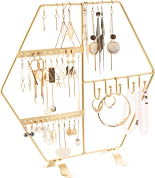Amazon Com Gold Earring Stand Holder Jewelry Tree Stand Necklaces Earrings Holder Jewelry Organizer Display For Dresser Top Vanity Home Improvement