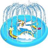 BATTOP Kids Splash Play Mat , 68'' Outdoor Water Sprinklers Pad, Babies Toddlers Inflatable Toys Pool, Backyard, Lawn Games,