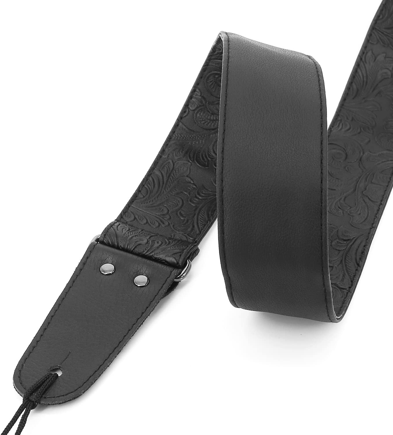 Printed Leather Guitar Strap PU Leather Western Vintage 60s Retro Guitar Strap with Genuine Leather Ends for Electric Bass Guitar,Wide Adjustment Range with Tie,Include 2 Picks,Black Guitar Strap