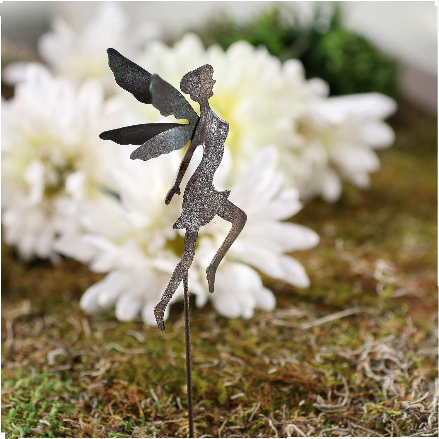 Crafting and Embellishing Factory Direct Craft Pair of Rustic Metal Mid-Flight Fairy Silhouettes on Picks for Gardens