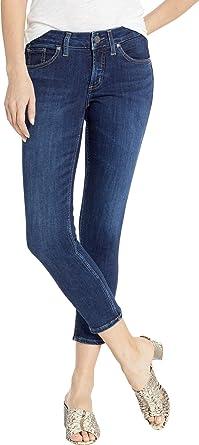 28790d6d Silver Jeans Co. Women's Suki Curvy Fit Mid Rise Skinny Crop, Power Stretch  Dark