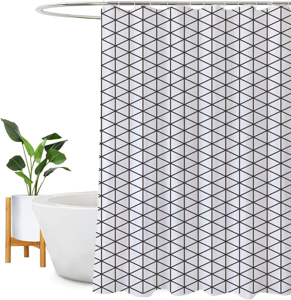 Encozy Shower Curtain Waterproof Mould Proof Resistant Bathroom Curtain Washable Bath Curtain with 16 Hooks (Black and White, 180X240cm) Black and White 180X240cm