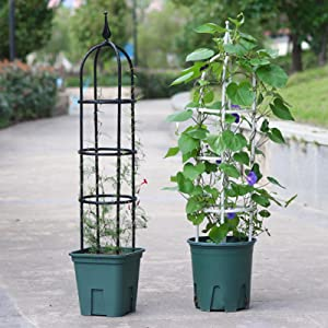 Tower Obelisk Garden Trellis,5 Feet Tall Plant Support for Climbing Plant Stands,White/Black Metal with Plastic Coating Rustproof,Trellis Arch for Outdoor Climbing Vines Flowers Vegetables Fruits Pots