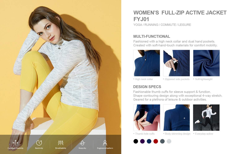 TSLA Womens Yoga Lightweight Active Performance Full-Zip Jacket FYJ01