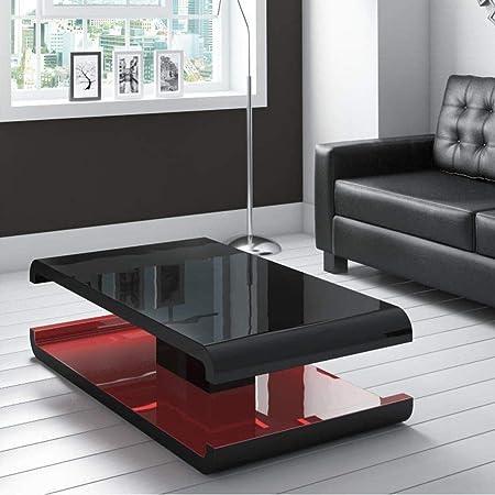 Tiffany Table Basse Noir Laque Avec Led Telecommande Gamme D