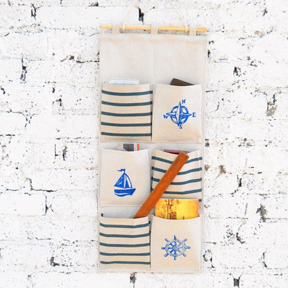 blu Mirayen Lino di Cotone Organizzatore da Appendere con 6 Tasche Borsa Portaoggetti da Parete Armadio Organizzatore Borsa da Parete Organizzatore Tessuto Muro Appendere Porta Salvaspazio Guardaroba In Stile Navy
