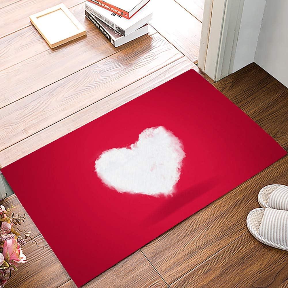 Non-Slip Entryway Doormat Happy Valentine's Day Heart-shaped Clouds Red White Indoor Door Mat for Home Floor Decor 30 x 18 Inch Absorbent Mud Rug Shoes Scraper for Doorway, Laundry, Kitchen, Bathroom