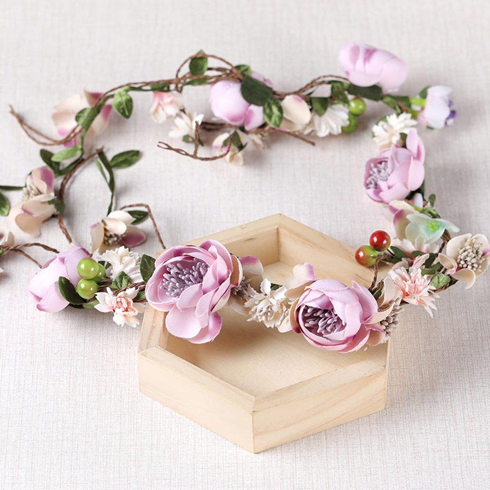 OKBO Mujer/Niña Diadema Corona Flores para Cabello Garland Halo Accesorios Artificiales de Seda de hilo de Decoradas con Flores Adultos o Niños(Púrpura): ...