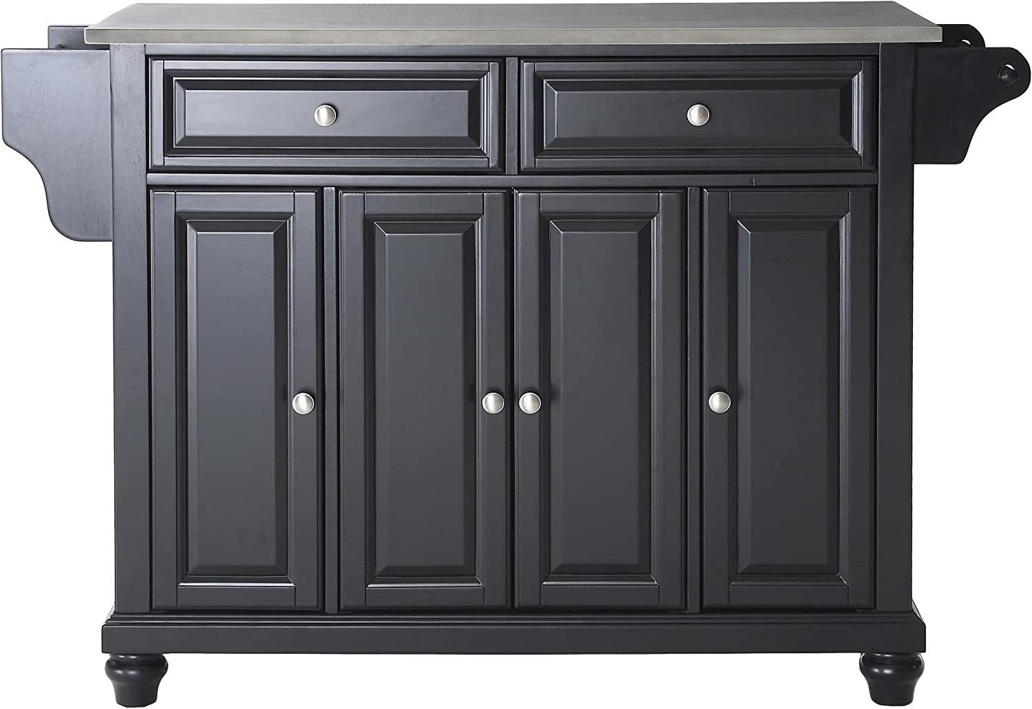 Crosley Furniture Cambridge Full Size Kitchen Island with Stainless Steel Top, Black