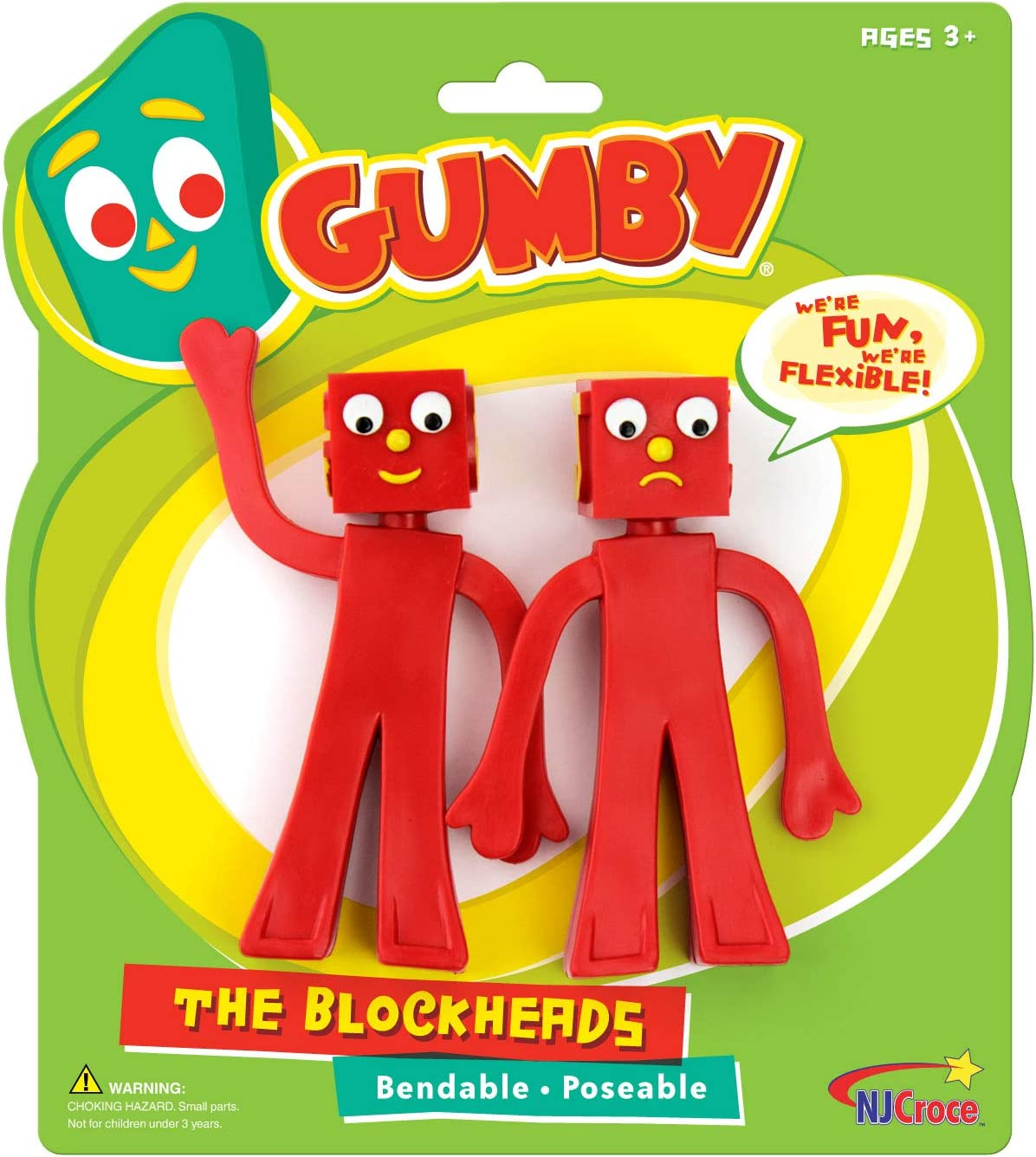 Amazon.com: NJ Croce Gumby Blockheads G & J Bendable Figure Pair ...
