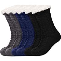 3 Pairs Women's Warm Slipper Socks Christmas Fuzzy Socks Fleece-lined Non Slip Slipper Socks