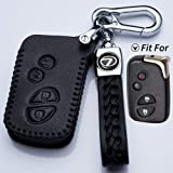 Jazzshion Black Key Fob Cover Case Jacket Keyless Clicker Remote Smart Key Holder Chain Keychain for GS430 GS300 IS350…