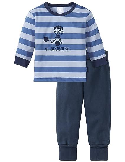 775ae34297 Schiesser Jungen Zweiteiliger Schlafanzug Zirkus Strong Boy Baby Anzug lang  2-teilig Blau 800,