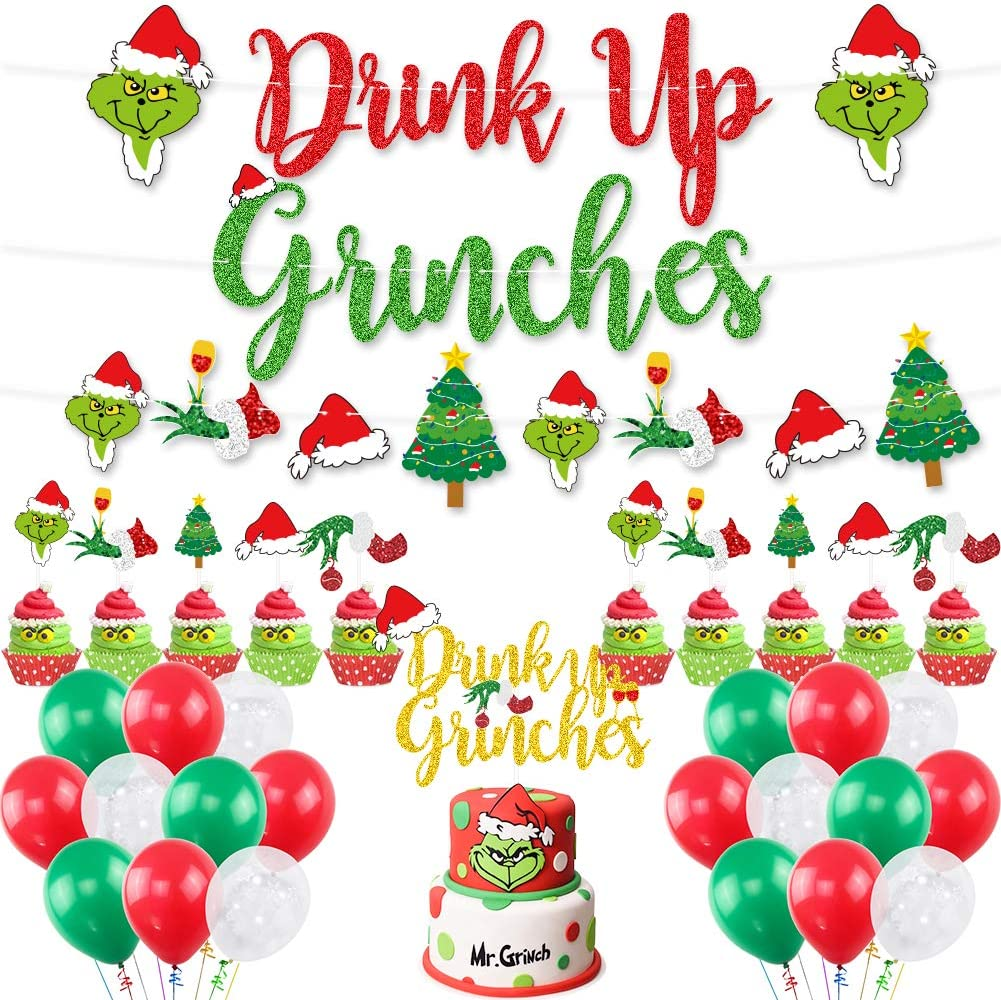UTOPP Drink Up Grinches Decorations Kit,Red & Green Glittery Drink Up Grinches Banner,Drink Up Grinches Cake Topper Christmas Balloons for Grinch Theme Xmas Party,Holiday Party Supplies,Xmas Mantel Decor