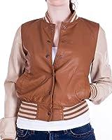 Ladies Camel Baseball Jacket Synthetic Leather