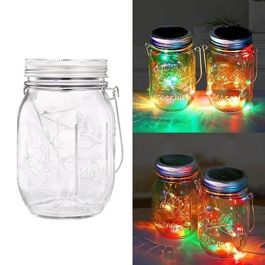 Solar Mason Jar Patio Lights, LED String Light, Hanging Lights For Garden,  Patio