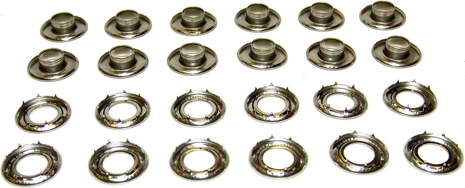 Nickel Brass Grommets with Rolled Rim Spur Washers #2 Top Quality 50 sets
