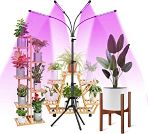 LED Grow Light with Stand for Indoor Plants, RHM Four-Head Full Spectrum Floor Grow Light with 4/8/12H Auto ON/Off Timer, 4 Lighting Modes, 10 Level Dimming & 55inch Adjustable Stand & Gooseneck