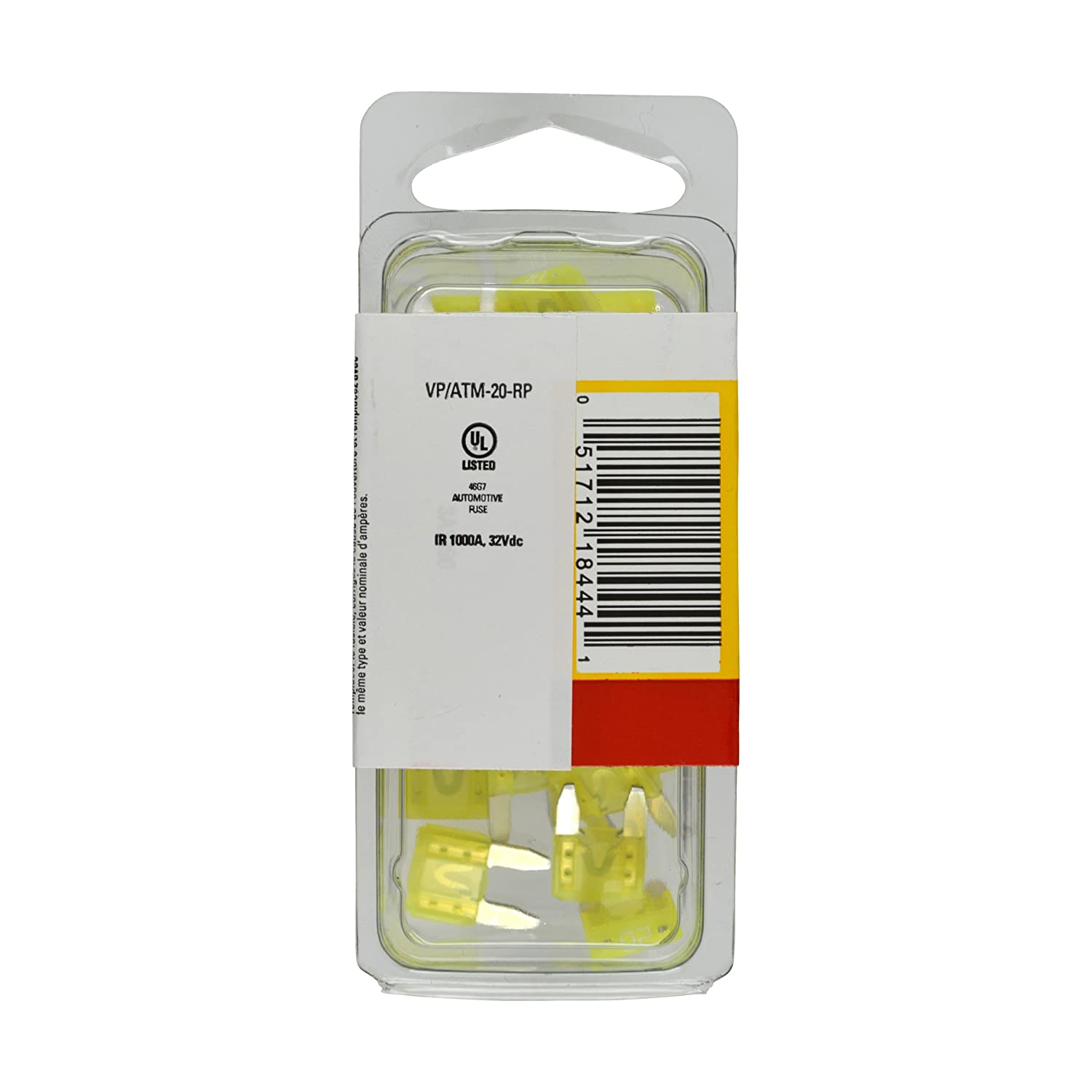 Bussmann VP//ATM-20-RP Yellow 20 Amp Fast Acting ATM Mini Fuse, Pack of 25