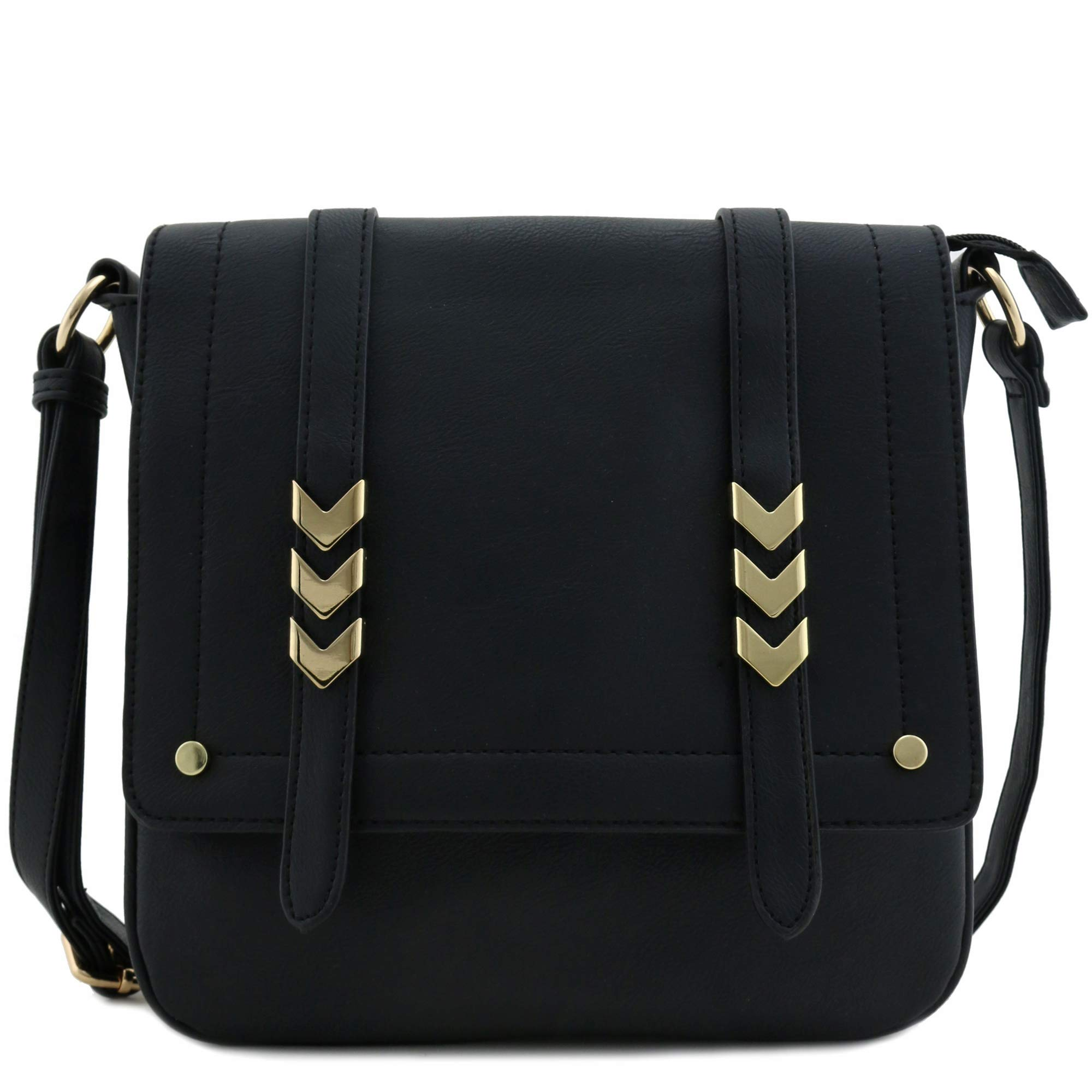 Double Compartment Large Flap Over Crossbody Bag Black by Alyssa