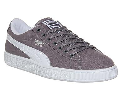 Puma Basket Classic Canvas Grey White - 12 UK  Amazon.co.uk  Shoes ... 9b98ba3d3