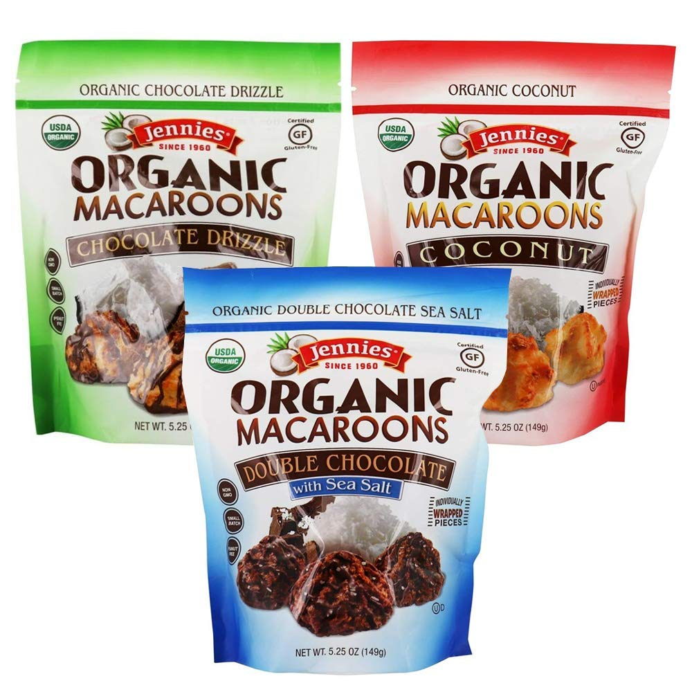 Jennies Wrapped Organic Macaroons Variety 3 Pack   Coconut   Chocolate Drizzle   Double Chocolate Sea Salt   1 Bag Per Flavor   5.25oz Each