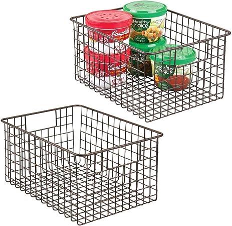 Organizer versatile con manici bronzo mDesign Set da 4 Contenitore universale ideale per cucina o bagno Cesto portaoggetti in filo metallico