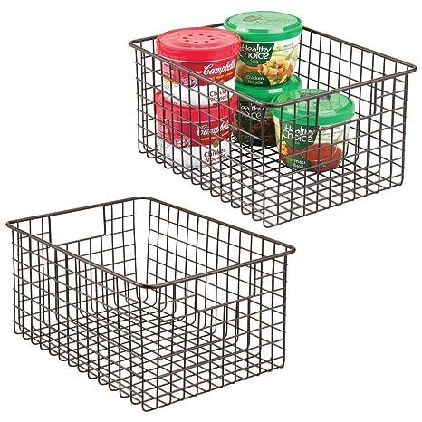 Amazon Com Mdesign Farmhouse Decor Metal Wire Food Storage