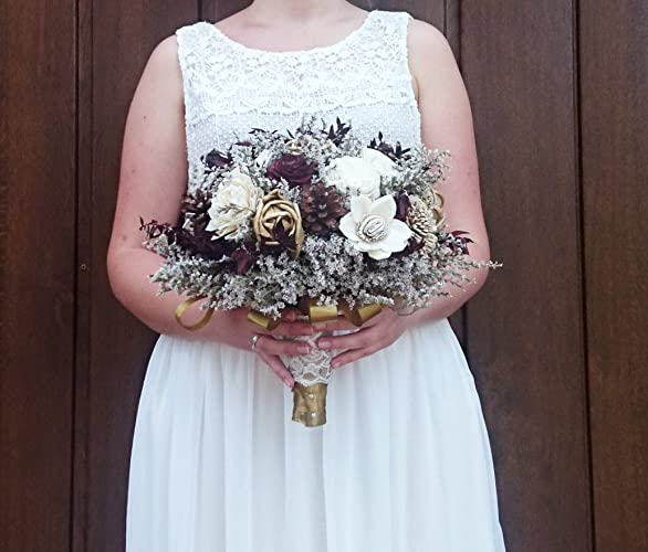 Amazoncom Bridal Bouquet Ivory Burgundy Gold Pine Cone Sola