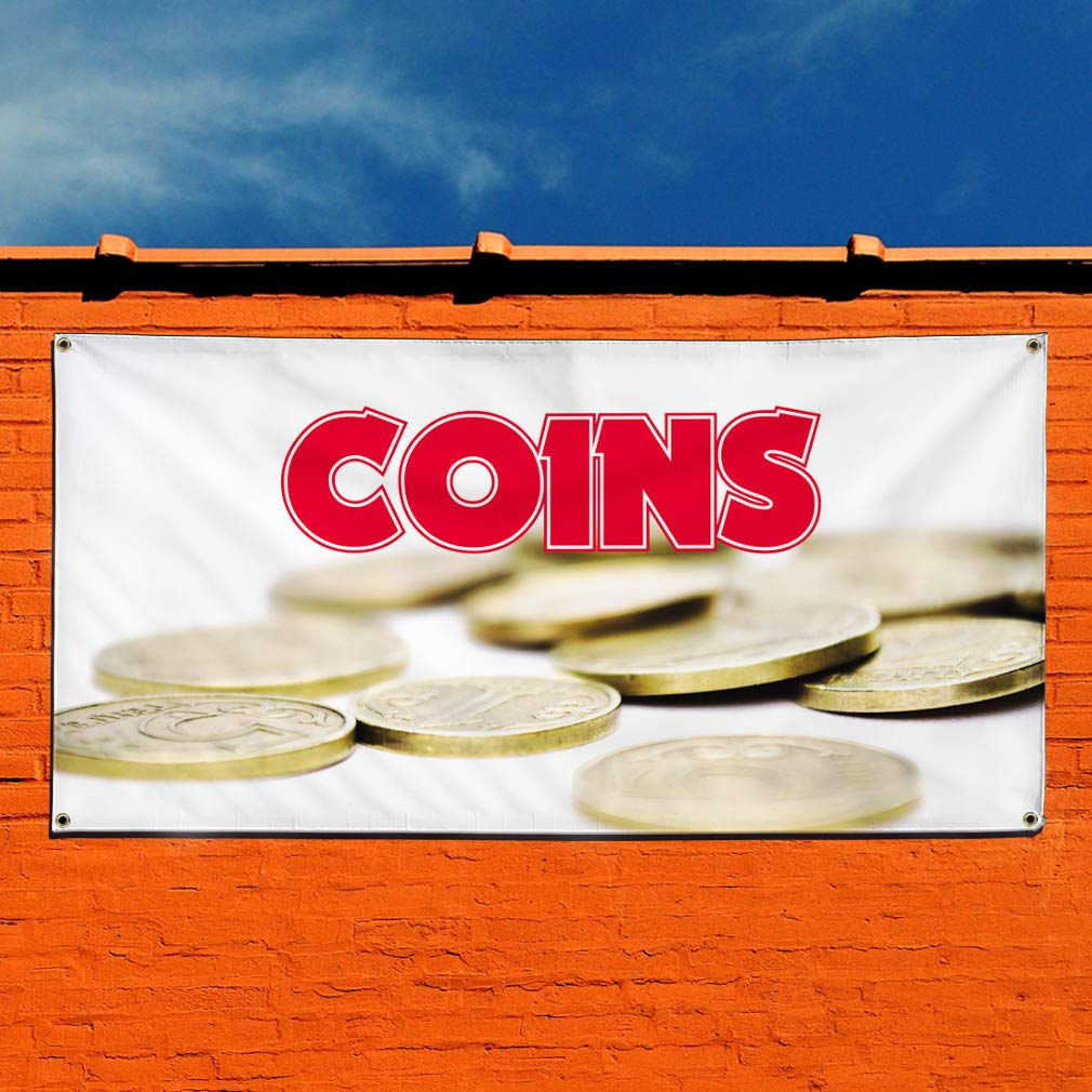 6 Grommets Vinyl Banner Sign Coins #1 Style A Business Coins Outdoor Marketing Advertising White Multiple Sizes Available Set of 2 32inx80in