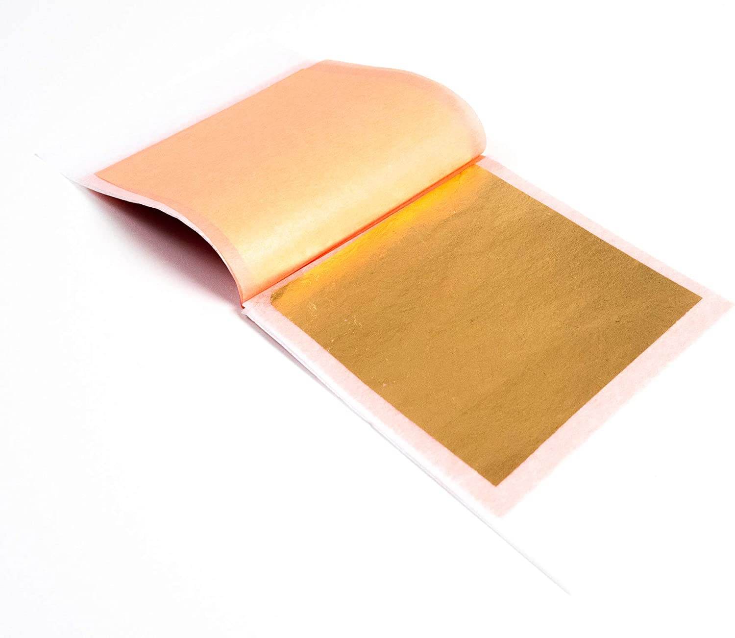 Slofoodgroup 24 Karat Edible Gold Leaf Lightly Attached Transfer Gold (10 Soft Press Transfer Sheets of Gold Leaf per Book) 3.15 in x 3.15in Lightly Attached Transfer Leaf Sheets
