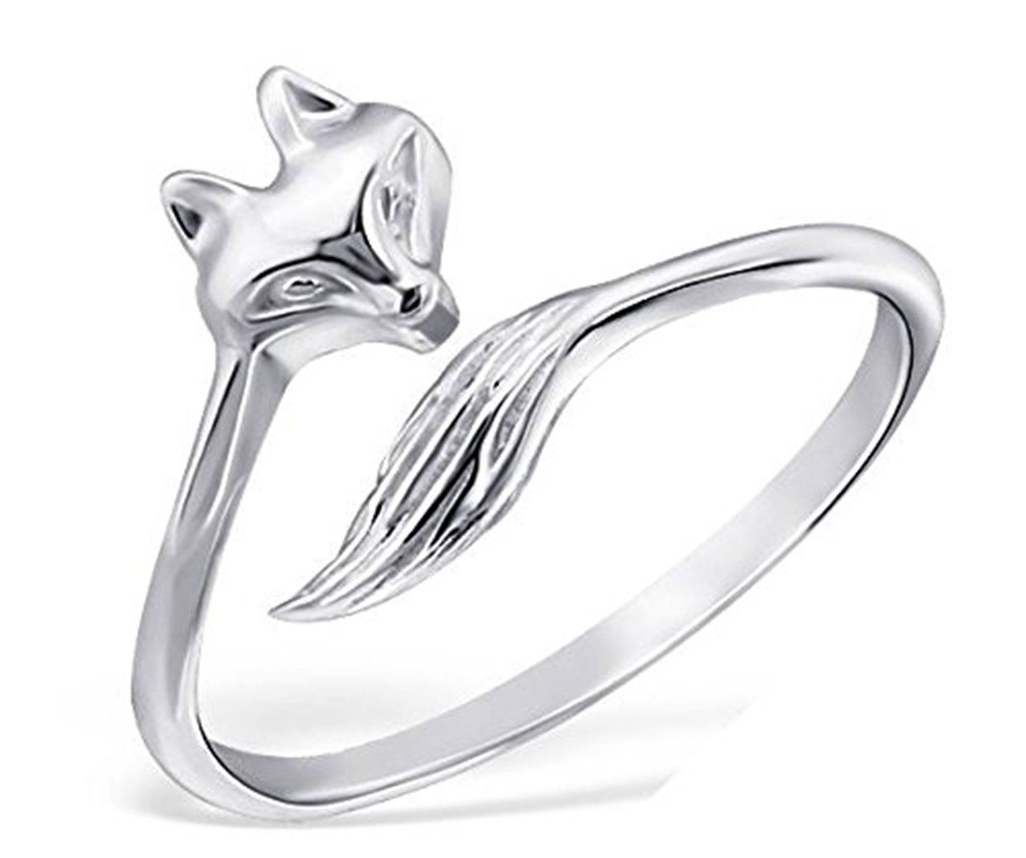 Best Wing Jewelry .925 Sterling Silver ''Fox'' Midi Ring, Above Knuckle Ring, Mid Finger Ring