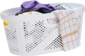 Mind Reader HHAMP40-WHT, Laundry, Storage, Bathroom, Bedroom, Home, 40 L, White 40 Liter Clothes Basket
