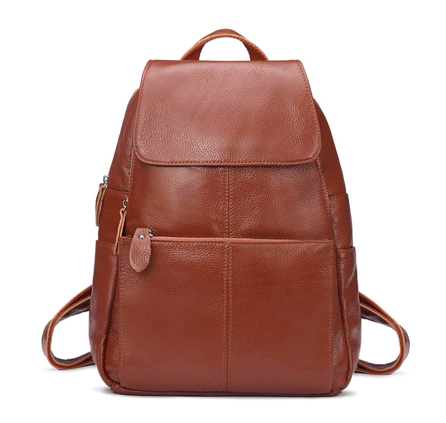 Longzibog Leather 2016 New College School Laptop Backpack -Straps Reinforced Brown