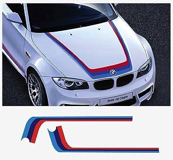 Bmw M Performance M Stripe Sticker Bonnet Stripes Red Dark Blue Light Blue Amazon De Auto