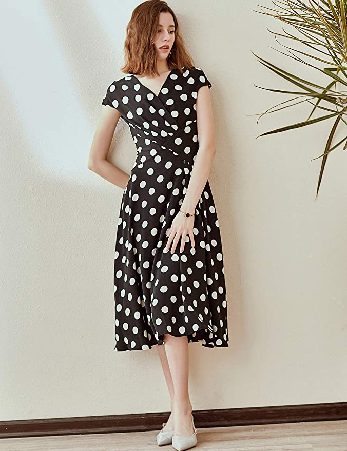 1940s Dresses | 40s Dress, Swing Dress Roey s house Women's V-Neck A-Line Midi Cocktail Dress with Faux Wrap Front and Cap Sleeves $55.99 AT vintagedancer.com