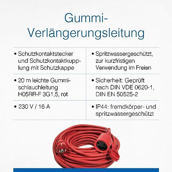 As Schwabe Gummi Verlängerungsleitung 20 M Kabel Mit Schutzkontaktwickelstecker Schutzkontaktkupplung Inkl Schutzkappe 230 V 16 A Verlängerungskabel Ip44 Rot I 60262 Baumarkt