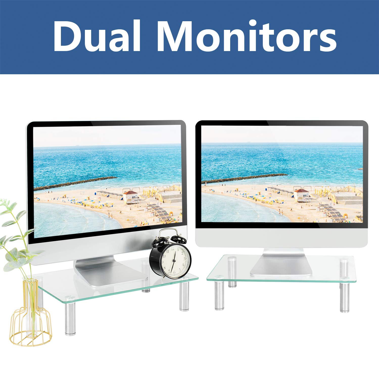 Rfiver Dual Monitor Stand Riser 2 Pack Multifunctional Desktop Organizer Computer Tabletop Screen Riser Stand for TV PC iMac Laptop Printer, Sturdy Made of Tempered Glass & Stainless Steel Legs CM2004