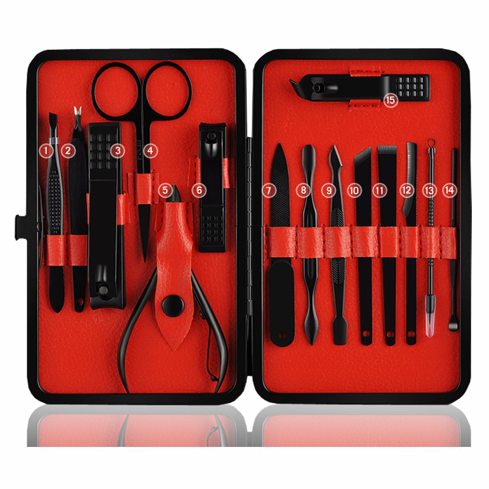 AUFARCHI Professional Stainless Steel Nail Clipper Travel & Grooming Kit Nail Tools Manicure & Pedicure Set of 15pcs with Luxurious Case(Black/Red)
