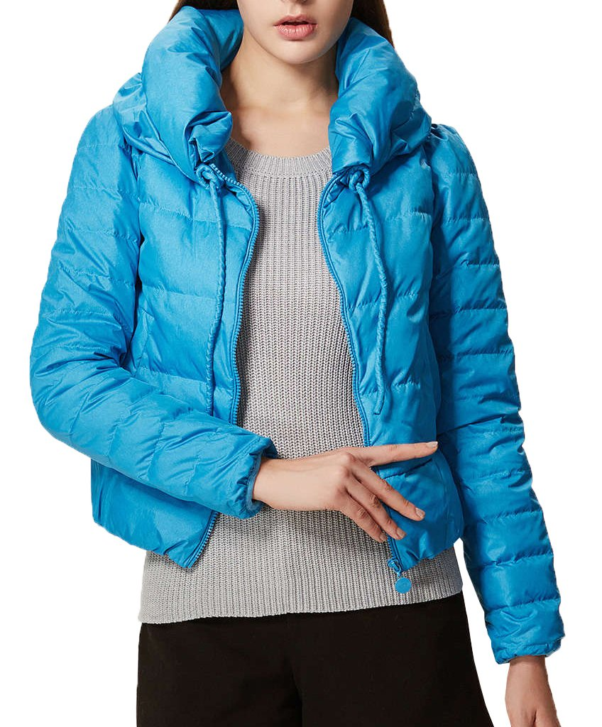 Generic Women's Short-style Long-sleeve Coat M Blue