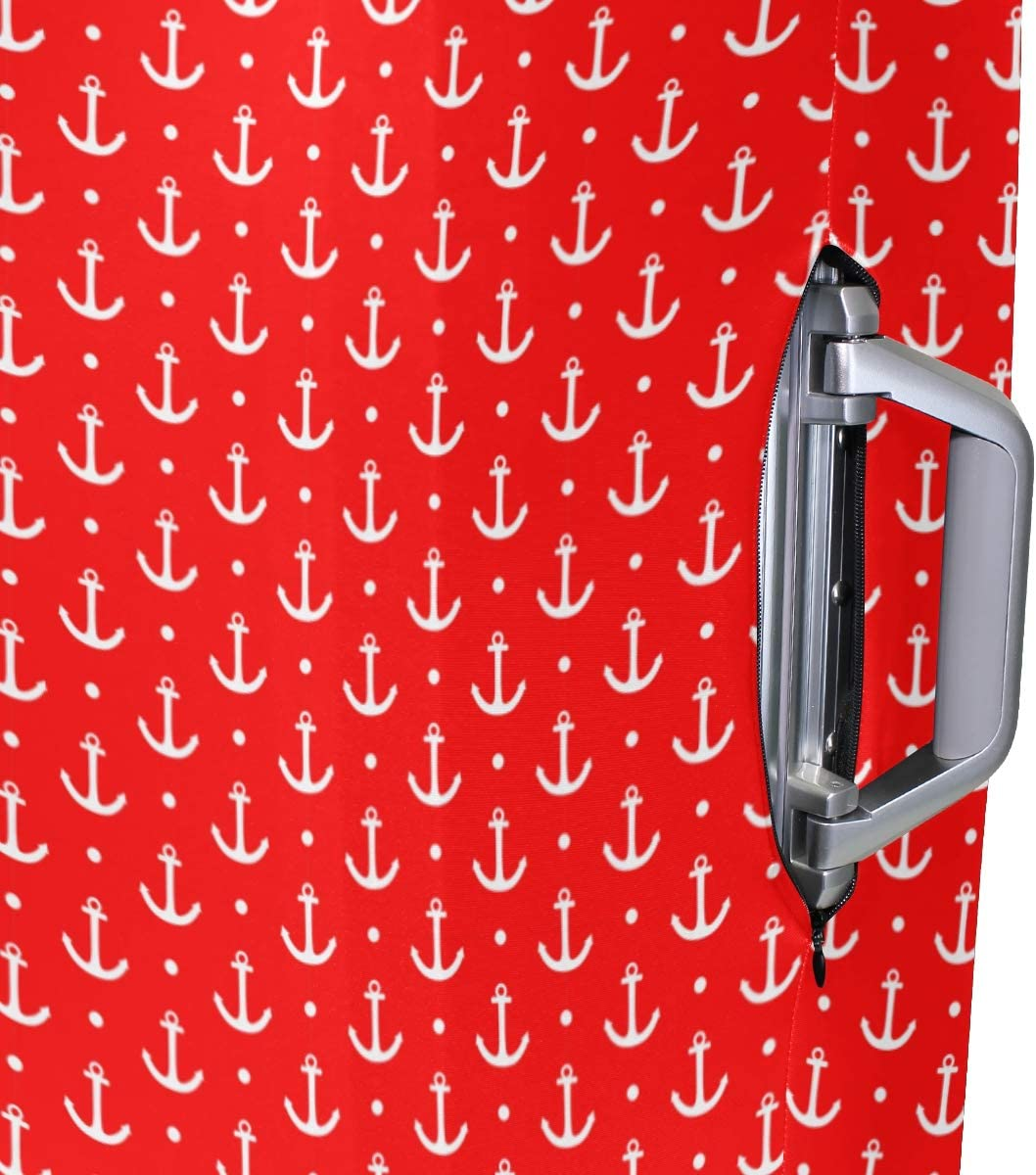Fashion Travel White Anchor And Dots Red Luggage Suitcase Protector Washable Baggage Covers