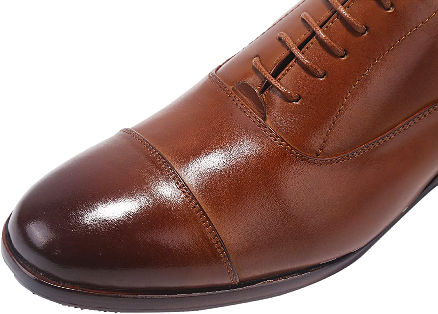 ELANROMAN Mens Oxford Dress Shoes All Genuine Leather Hand Stitched Sole Lace up Blake Shoes